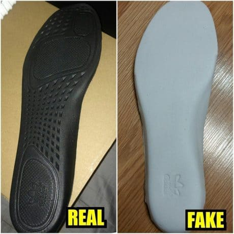 Real Vs Fake Bottom of the insoles Yeezy 350 Boost Turtle Dove