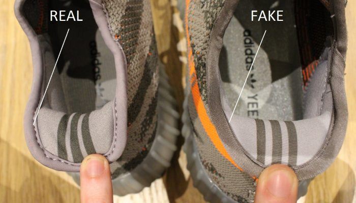 Real Vs Fake Inner Heel 3 Yeezy Boost 350 V2 Beluga
