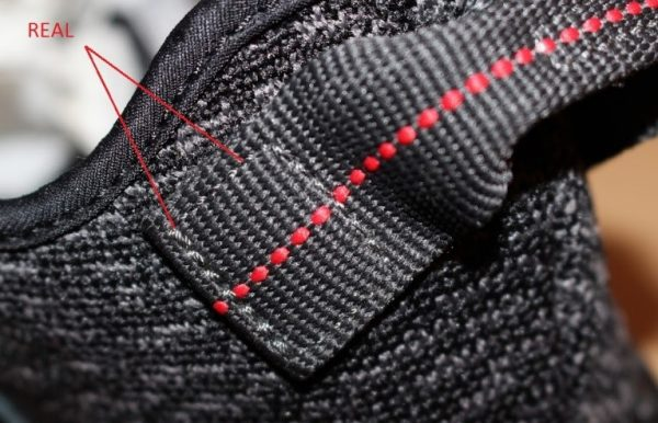 Real Vs Fake Logo The Back 2 Yeezy 350 Boost Pirate Black