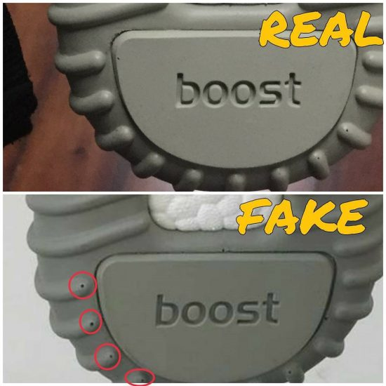 Real Vs Fake Outsole Yeezy 350 Boost Moonrock