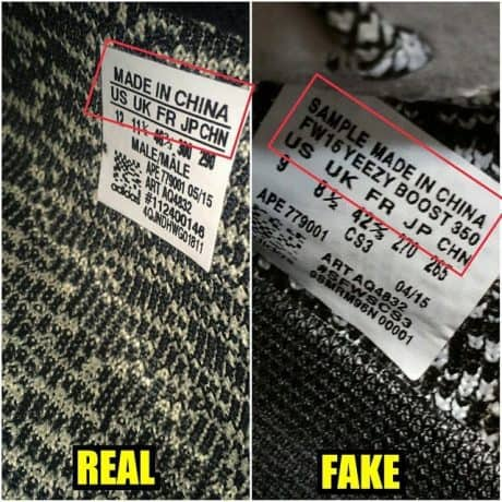 Real Vs Fake Size Tag Yeezy 350 Boost Turtle Dove