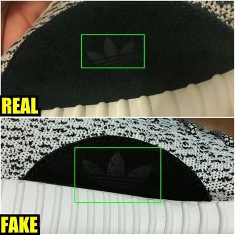 Real Vs Fake Trefoil (adidas logo) 350 Boost Turtle Dove
