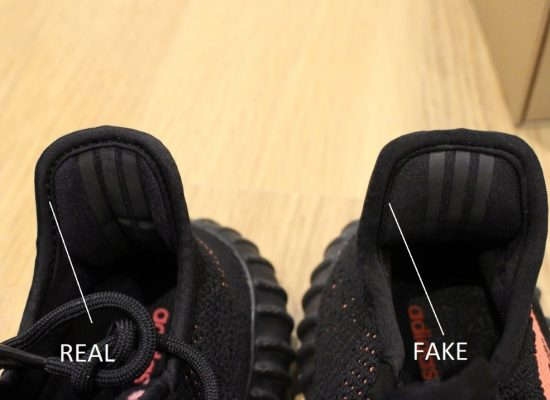 Real Vs Fake Yeezy Boost 350 v2 Green, Red, Copper the Heel